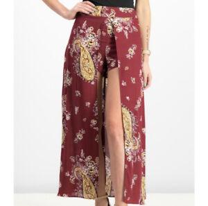 NWT MaterialGirl Zinfandel Paisley Caped Shorts Long Skirt Skorts Size S