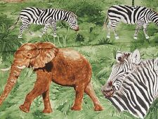 SERENGETI JUNGLE SAFARI ANIMALS EXCLUSIVELY QUILTERS GREEN Cotton Fabric YARD