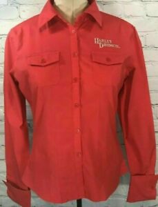 HARLEY DAVIDSON WOMENS SIZE L RED FITTED EMBROIDERED LONG SLEEVED L/S BUTTON UP