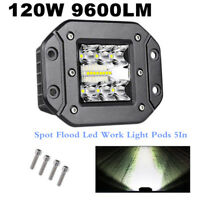 "Flush Mount Work Light Pods 1x 5In CREE LED 120W SUV UTE Bumper Reverse Lamps 5"""