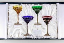 Faberge Crystal Na Zdorovye Imperial Collection Martini Glasses Pristine! 4-Nib