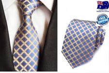 Premium Quality Formal Wedding Party Blue Gold White Geometric Silk Men Tie