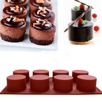 8 Cavity Round Cylinder Column Cake Mold Silicone Handmade Soap Mould Muffin New