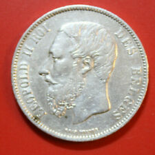 Belgien-Belgium: 5 Francs 1873 Silber, KM# 24,  Leopold II, F# 2858, VZ-XF