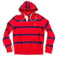 Polo Ralph Lauren Men's Hooded Sweatshirt Fleece Lined Red/Navy Stripes • MEDIUM