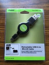Retractable USB to Mini-B Cable 3ft VOGDUO Connector Wire Cord USB2.0 A NEW