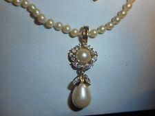 HOBE Vintage Majorca Pearl NECKLACE Big Pearl & Brilliant Rhinestone Enhancer