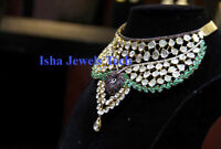 Natural Diamond Polki & Emerald Sapphire 18k Gold & 925 Sterling Silver Necklace