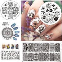 BORN PRETTY Nagel Schablonen Nail Art Stamping Plates Maniküre Blume Muster