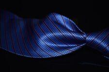 NWT $215 #1 MENSWEAR Stefano Ricci Heavy Satin Ocean Blue Check Stripe Silk Tie