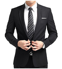 Men's Two Button Modern Business Suit Black with Tie L 10