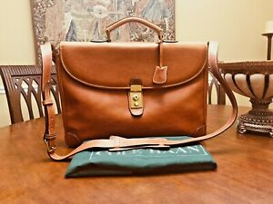 COLE HAAN British Tan Heavy Leather Briefcase / Messenger Bag - Made In Italy
