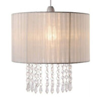 Vintage Style Cream Beaded Ceiling Pendant Light Shade Chandelier Lampshade NEW