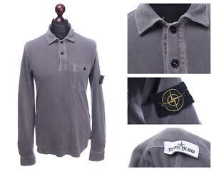 STONE ISLAND Grey Pique Cotton Long Sleeve Patch Polo Shirt Size L