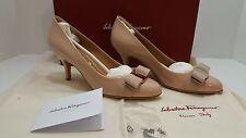 NIB 6B Salvatore Ferragamo Pumps Carla Beige Bow Patent Leather Heels