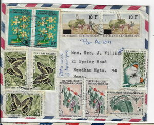 Central African Republic cover OUANGO to NEEDHAM HEIGHTS MA, 1966 (y85
