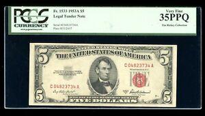 DBR 1953-A $5 Legal Fr. 1533 CA Block PCGS 35 PPQ Serial C04823734A