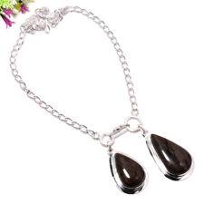 Black Obsidian Stone Gemstone 925 Sterling Silver Necklace Jewelry 18 3272