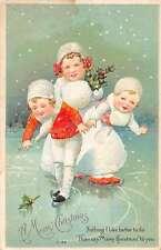 Christmas Greetings Children Ice Skating Clapsaddle Antique Postcard J58056