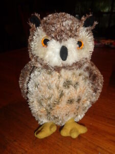 """Owl Brown Tan spotted OSMOND Great Horned fuzzy Plush 7"""" stuffed Aurora flopsies"""
