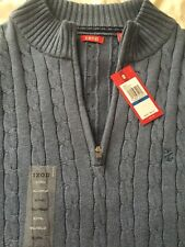 Izod Mens Long Sleeve 1/4 zip cable stitch Colony Blue XL Men's Sweater NEW