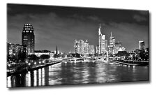 Leinwand Kunst Bild Frankfurt Nacht Skyline Schwarzweiß