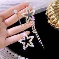 NEW Long Pearl Crystal Star Earrings Tassel Chain Drop Dangle Ear Stud Jewellery