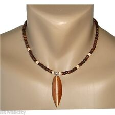 Hawaiian Jewelry Coconut Bead Necklace with Wooden Surfboard from Hawaii