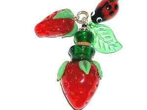 1pc Murano Glass Strawberry fruit oil perfume cork bottle pendant vial Necklace
