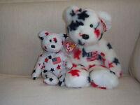 ~GLORY TY BEANIE BABY & GLORY BUDDY cute Bear American Flag Babies Lot of 2  RT