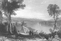 WILKES-BARRE PENNSYLVANIA SUSQUEHANNA RIVER ~ 1838 Landscape Art Print Engraving
