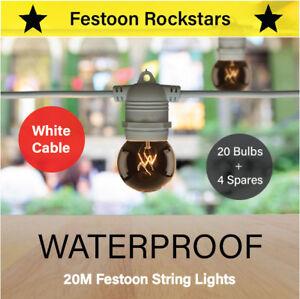 20m White Festoon String Lights | Waterproof Outdoor | Wedding Party | Patio