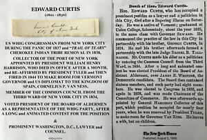 PANIC 1837 CHEROKEE TRAIL TEARS CONGRESSMAN NY POLITICIANCURTIS AUTOGRAPH SIGNED