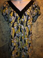 Women's size 16P petite PERCEPTIONS silky stretch v-neck artsy abstract top USED