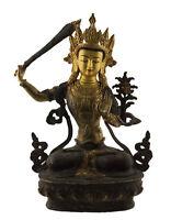 Antigua Estatua Tibetano De Manjushree Cobre Baño Oro 36cm 2kg900 1457