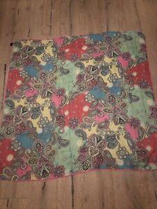 Roeckl Schal / Tuch mit Seide 140 x 140 cm Paisleymuster rosa mintgrün NP 149,00