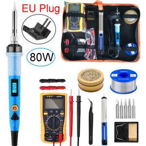 Kit Fer à Souder 80W Electronique Température Réglable Pompe à Dessouder EU Plug