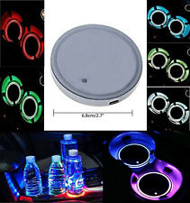 2pcs Interior Water Coaster RGB LED Light  With Charger Adapter Euro Vehicle