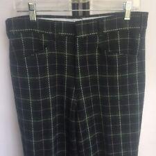 Kings Road Sears Vintage 1970s Mens Pants 30x32 Green Plaid Golf Trousers E1