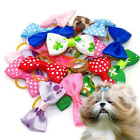 Flower Hair Bows For Small Dog Cat Pet Puppy Bowknots Grooming Accessory 20Pcs#