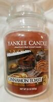 Yankee Candle CINNAMON TOAST Large Jar 22 Oz New Housewarmer Brown Food Spice