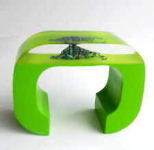 Amazing chartreuse green lucite cuff bracelet with real beetle