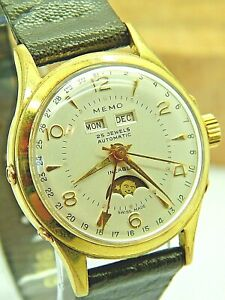 Rare Triple Calendar Moonphase 25 jewel automatic wrist watch MEMO Swiss 1950s