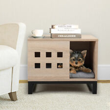 Wood Pet House Dog Cage End Table for Dogs Cat w/ Cushion and 6 Vents Indoor