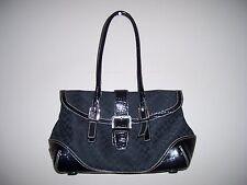 Liz Clairborne Solid Black Croc Trim Shoulder Bag 2 Straps Snap Closure EUC