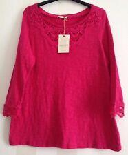 Ladies sz 12 Indigo at M&S, Stunning Deep Pink Cotton Top Sculpted Neckline BNWT
