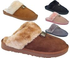 Womens Fur Lined Slippers Ladies Winter Mules Non Slip Rubber Sole Snug Shoes