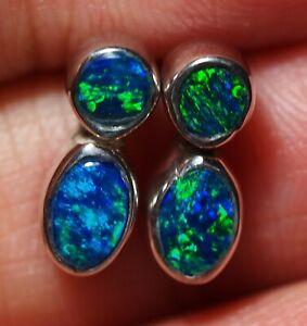 Australian Natural Opal Doublet Silver 925 Earnings