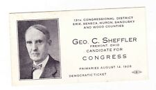 GEORGE C. SHEFFLER---- FREMONT OHIO---- 1928 CONGRESS ELECTION CARD