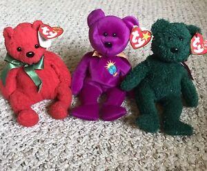 Set of Ty Beanie Babies:Mistletoe (2001), Millennium (1999) & 2001 Holiday Teddy